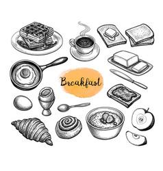 breakfast meal big set vector image