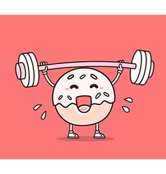 bright color donut with barbell lifting w vector image