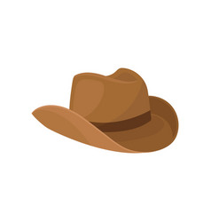 brown wide-brimmed cowboy hat stylish men vector image