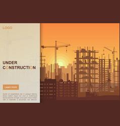 building under construction site design vector image