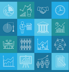 business and finance lineart minimal iconset on vector image