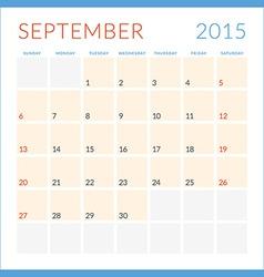 Calendar 2015 flat design template September Week vector