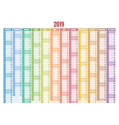 calendar planner for 2019 year stationery vector image vector image