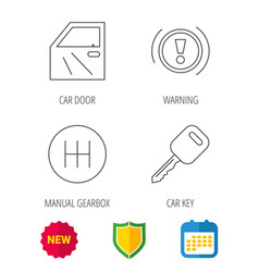 Car key warning and manual gearbox icons vector