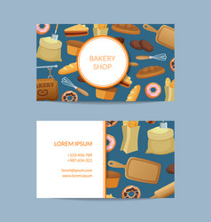 Cartoon bakery business card template vector