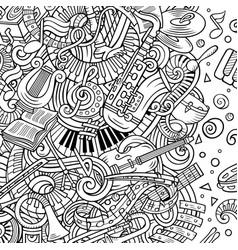cartoon doodles classic music frameline vector image