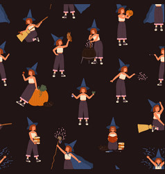 childish seamless pattern with girl in witch hat vector image