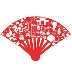 Chinese new year fan vector
