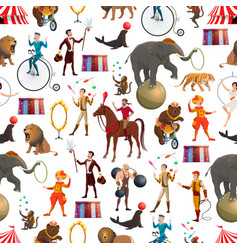 circus animals and equilibrists seamless pattern vector image