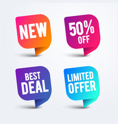 colorful speech bubble set for web and sale vector image