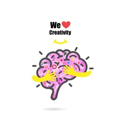 Creative brain logo design template vector