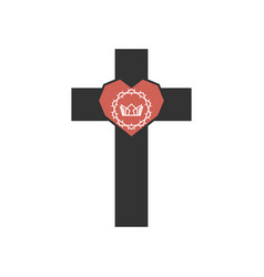 Cross jesus christ and heart with a crown vector