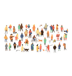 Crowd of tiny people dressed in winter clothes or vector