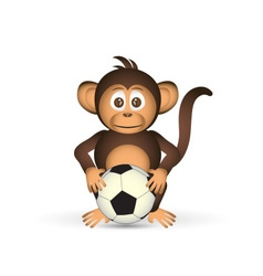 cute chimpanzee holding fooball ball sport little vector image
