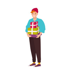 cute smiling hipster boy carrying gift boxes vector image