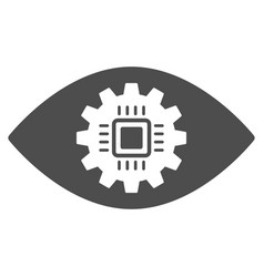 Cyborg eye lens flat icon vector
