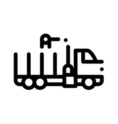 delivery loading straw truck thin line icon vector image