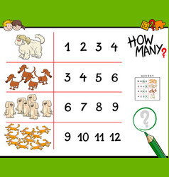 Dogs counting game cartoon vector