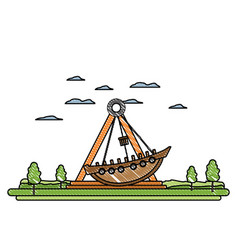 Doodle funny mechanical ship ride carnival vector