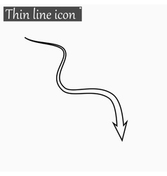 Down arrow icon Style thin line vector image