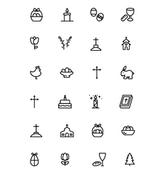 Easter Line Icons 3 vector image