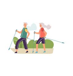 elderly couple performing nordic walking old vector image