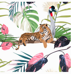 exotic birds and tiger monstera palm leaves vector image