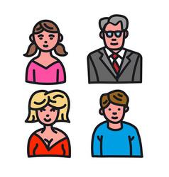 family avatars set vector image