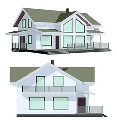 Family house in two perspective views vector