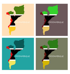 Flag-map of mozambique vector