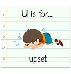 Flashcard letter U is for upset vector