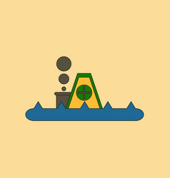 Flat icon stylish background flood house vector