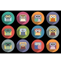 Flat icons of owls with long shadow effect vector image