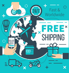 Free shipping delivery poster vector