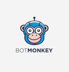 fun glasseye monkey robot logo icon template vector image