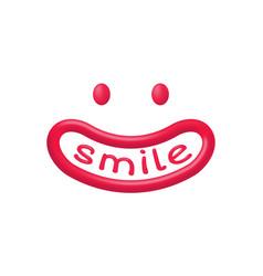 Funny smiley cartoon creature with wide smile vector
