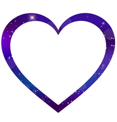 galaxy heart shaped photo frame on white vector image