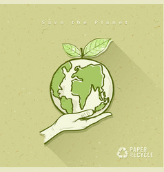 Globe in hand save the earth concept design vector image