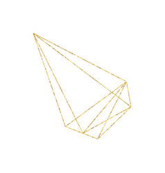 gold geometric crystal frame with detailed vector image