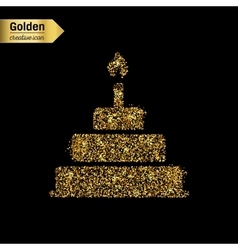 Gold glitter icon of cake isolated on vector