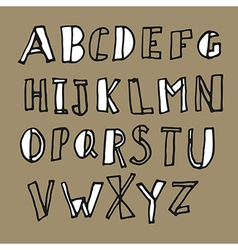 hand drawn doodles alphabet vector image