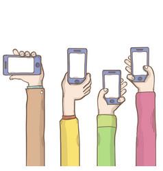 Hands with empty phone window template vector
