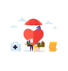 Health insurance concept with characters medicine vector