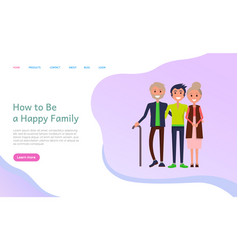 how to be happy family parents with grown up son vector image