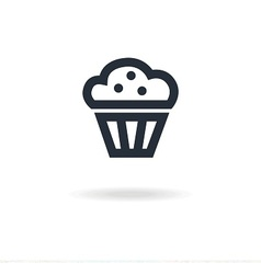 icon maffin with cream vector image