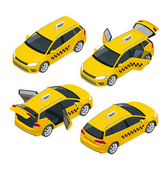 Isometric yellow taxi car with open and closed vector