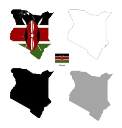 kenya country black silhouette and with flag vector image