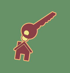 Key with keychain as an house sign vector