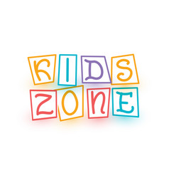 Kids zone logo template cartoon colorful letters vector