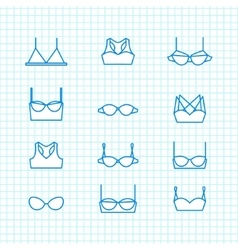 ladies bra icons set vector image